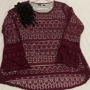 Cato Mulberry Lace Long Sleeve Top Sz 18/20